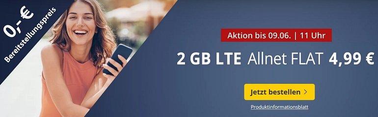 PremiumSIM o2 Allnet-Flat 2GB LTE Datenvolumen