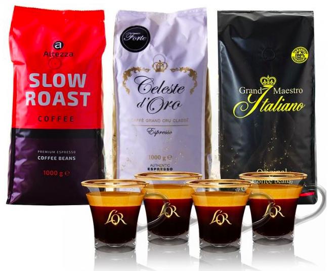 Exklusives Kaffeepaket Bestseller: 3kg Bohnen + 4 L'OR Espressotassen für 39,99€