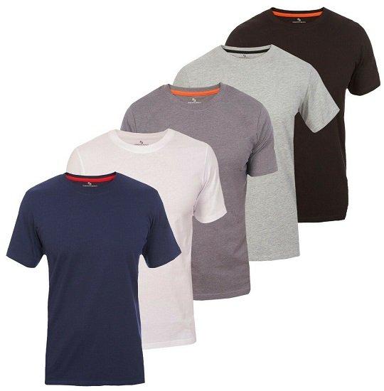 5er Pack Roberto Barini Herren Kurzarm Basic Rundhals T-Shirts für 22,99€ inkl. VSK