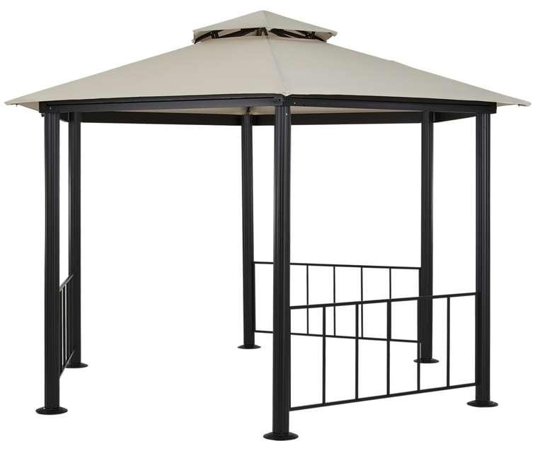 Pavillon mit Seitenzaun (350 cm Durchmesser) in schwarz-creme für 289€inkl. Versand