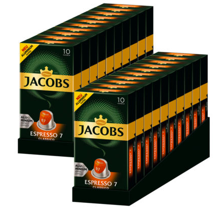 200x Jacobs Espresso 7 Classico Kaffeekapseln (Nespresso kompatibel) für 19,90€