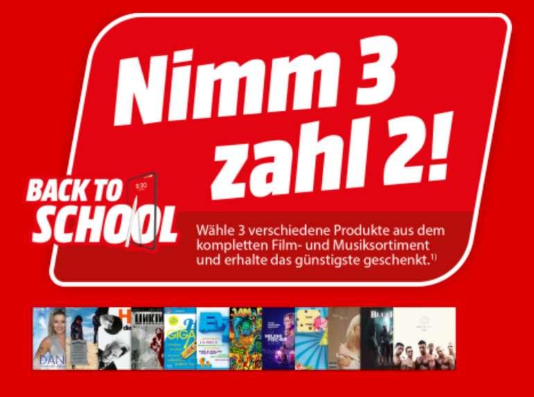 3 für 2 Aktion bei Media Markt - 3 Filme & Musik (DVD, Blu-ray) kaufen und nur 2 zahlen!