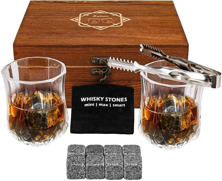 Baban Whisky Steine & Gläser im Set (wiederverwendbare Eiswürfel) für 16,79€ inkl. Prime Versand