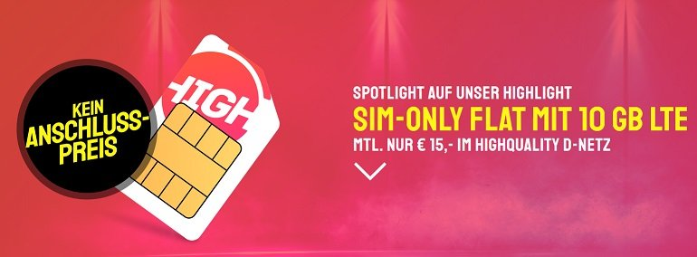 Sparhandy HIGH! Telekom Allnet-Flat mit 10GB LTE