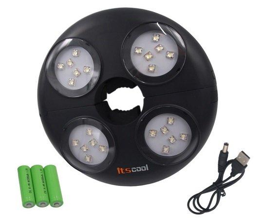 Itscool Sonnenschirm LED Beleuchtung mit Akku & USB-Aufladung für 21,44€