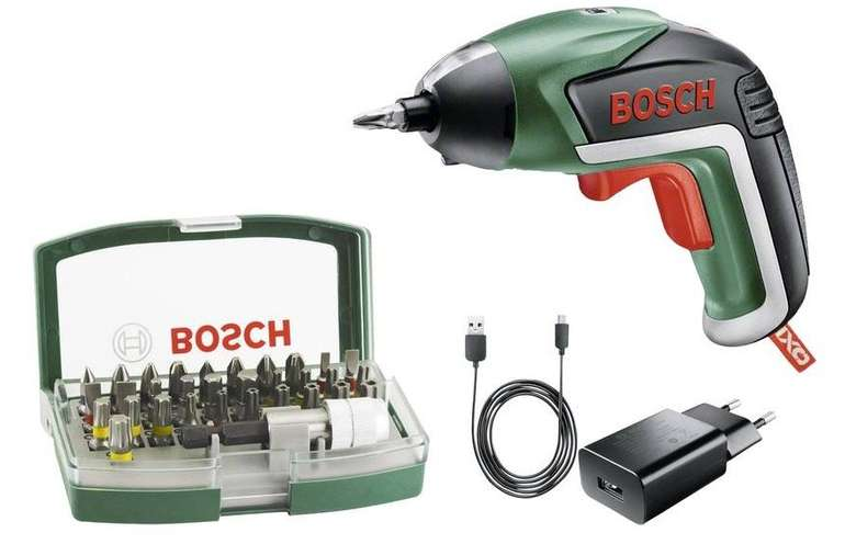 Bosch IXO V Akku-Schrauber, 3.6V, 1.5Ah inkl. Akku + 32tlg. Bitset für 29,99€