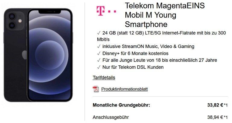 Apple iPhone 12 5G 64GB Telekom Magenta Mobil M 24GB LTE