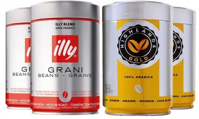 2 x 250g Premiumpaket illy + 2 x 250g Highlands Gold Kaffeebohnen für 24,99€