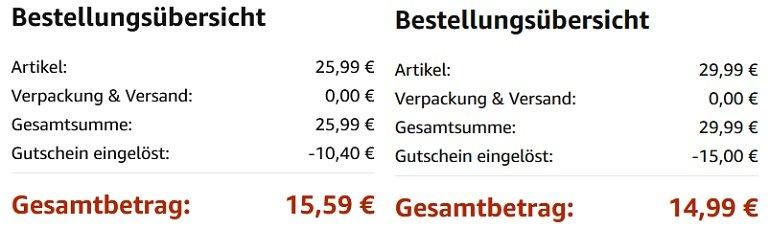 2 Produkte günstiger bei Amazon dank Gutschein