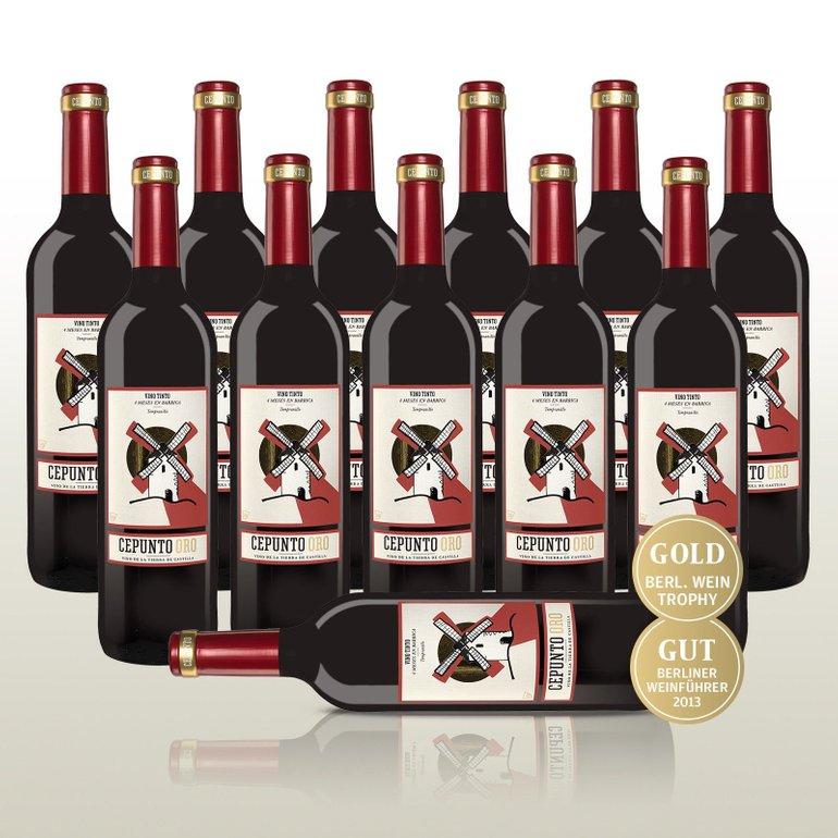 Bestpreis! 12x Cepunto Oro Rotwein aus Spanien, 100% Tempranillo für 35,90€ inkl. Versand (statt 60€)
