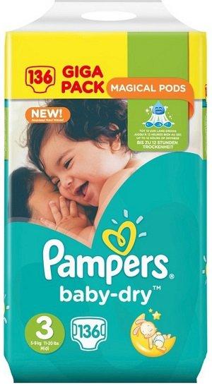 iBOOD: Pampers Windeln bis - 33% Rabatt, z.B. Baby Dry Größe 3 (136 Stück) für 23,90€ (statt 28€)