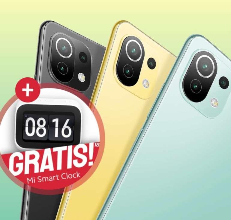 Xiaomi Mi 11 Lite 5G mit 128GB Speicher (39€) + Mi Smart Clock + o2 Blue All-in M mit 12GB LTE für 19,99€ mtl.