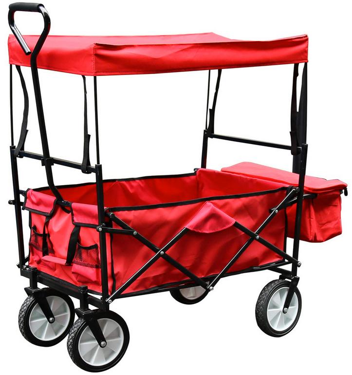 Wolketon Faltbarer Bollerwagen mit Dach in rot & blau für 46,89€ (statt 67€)