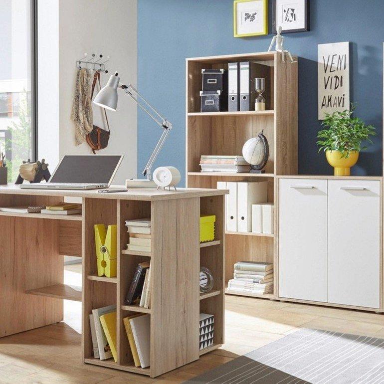 Büroeinrichtung: Schreibtisch, 2 Regale und Kommode für 149€ inkl. Versand