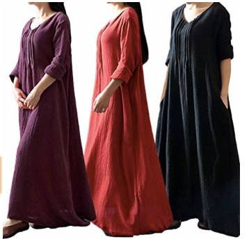 Romacci Damen Boho Maxi Kleid aus Baumwolle für 13,97€ inkl. Prime Versand
