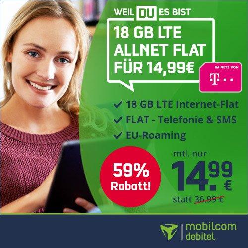 Bis 18 Uhr: Mobilcom Debitel Green Allnet & SMS Flat mit 18GB LTE im Telekom Netz für nur 14,99€ mtl.