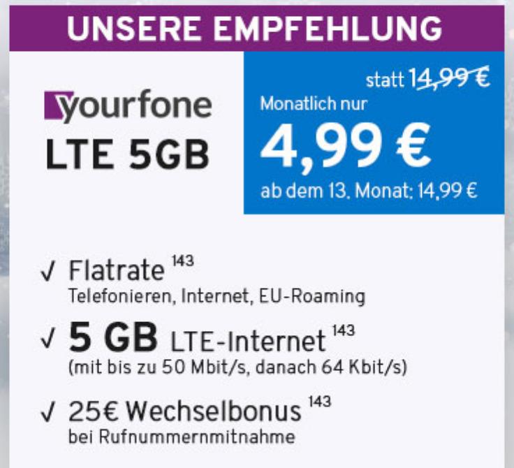 Yourfone Deals - z.B. LTE 5GB SIMonly (5GB LTE, Allnet-Flat) für 11,23€ mtl.