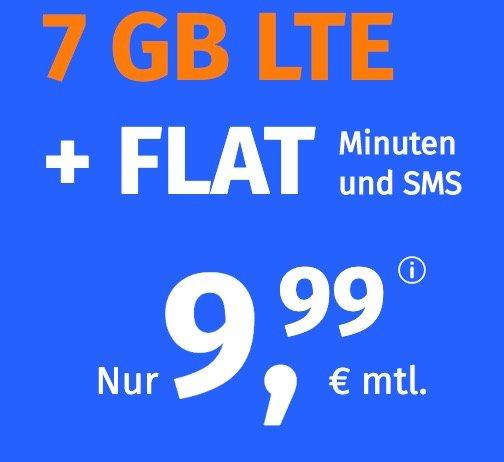 PremiumSIM: o2 Allnet-Flat mit 7GB LTE Datenvolumen für 9,99€ mtl. (3 monatlich kündbar)