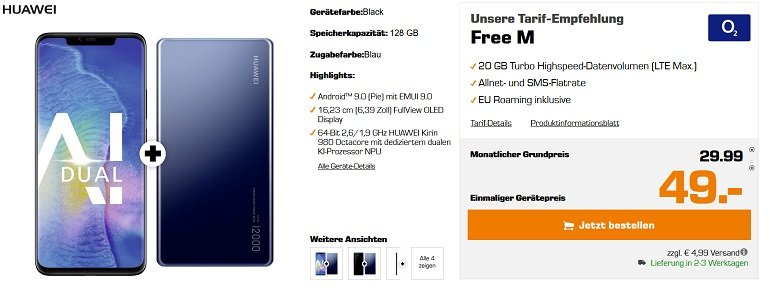 Huawei Mate 20 Pro o2 Free M 20GB LTE