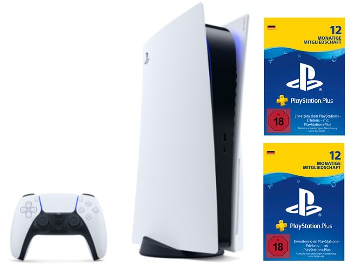 Playstation 5 Disc Version (99,99€) + 24 Monate PlayStation Plus + Telekom (10 GB) oder Vodafone green LTE 15GB Allnet Flat für 41,99€ mtl.
