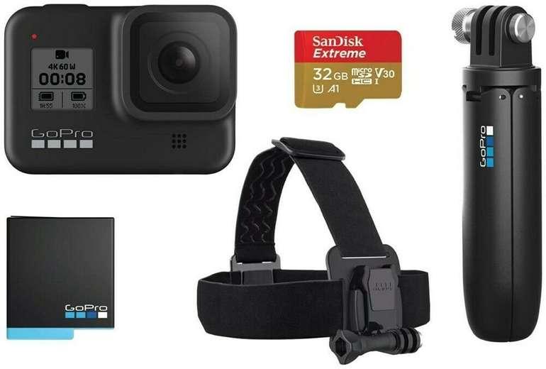 GoPro HERO8 Black Holiday Bundle inkl. Shorty, Akku, Speicherkarte & Kopfband für 332,91€