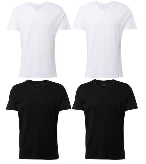4x Tom Tailor Herren T-Shirt O-Neck/V-Ausschnitt für 27,95€ (statt 33€)