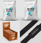 MyProtein: 5kg Beutel Casein + 1kg Creatin + 12 Protein Brownies + Zughilfen 50€