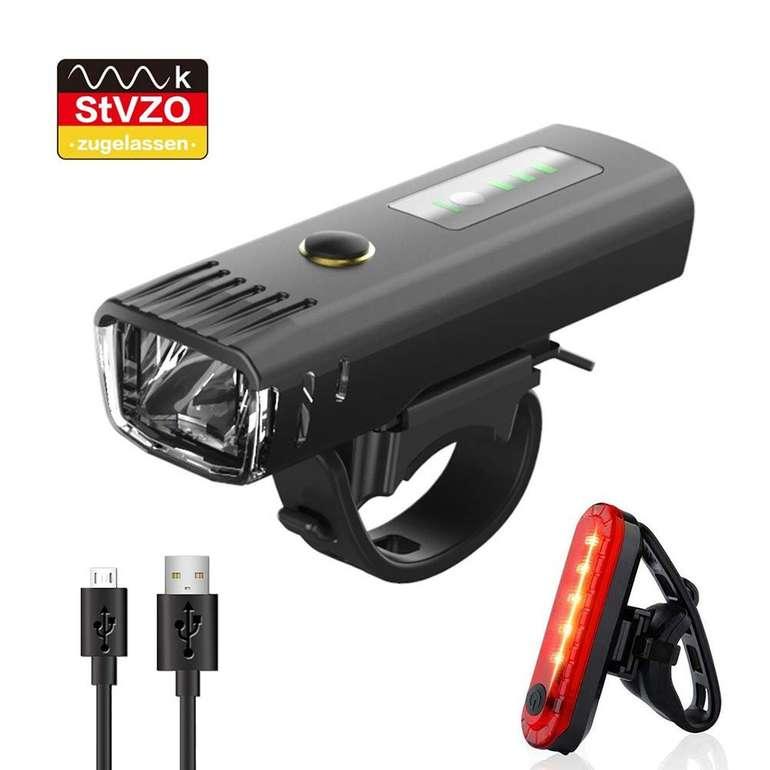 Pezimu wiederaufladbare LED Fahrradbeleuchtung im Set (wasserdicht, Lichtererkennung) für 8,99€ inkl. Prime Versand