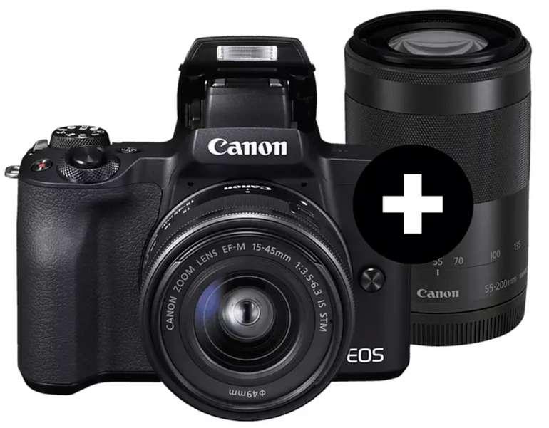 Canon EOS M50 Systemkamera mit Objektiv 15-45 mm, 55-200 mm für 666€ inkl. Versand (statt 777€)