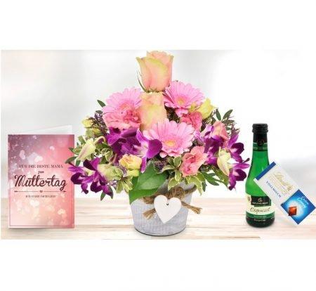 Muttertag: Blumen-Arrangement + Lindt Schokolade + Piccolo + Karte für 16,94€