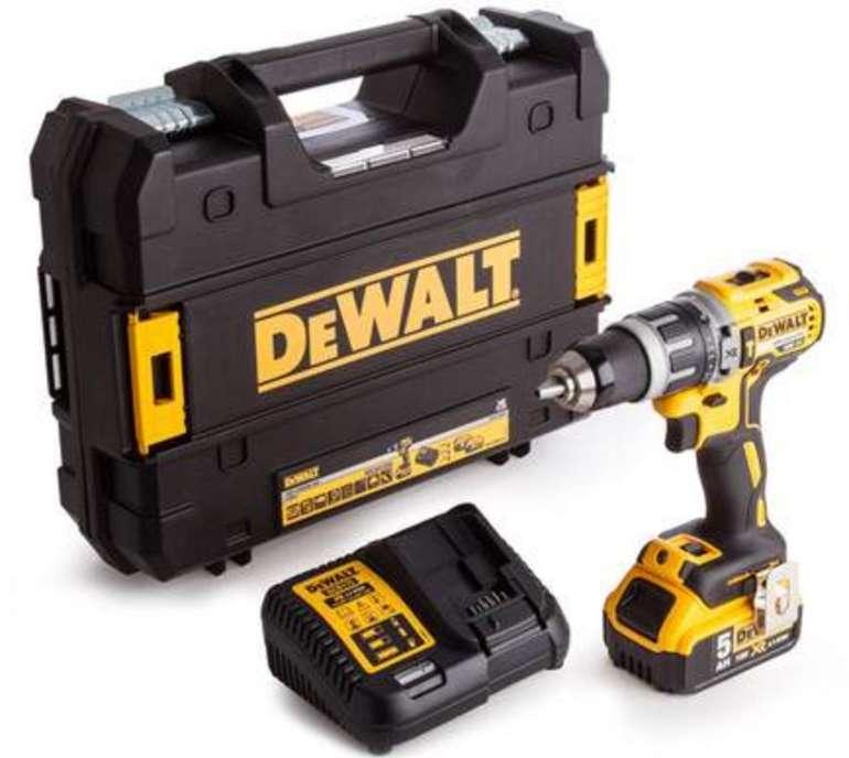 DeWalt DCD796P1 - 18V-Akku-Schlagbohrschrauber (Brushless, 5Ah-Akku, Ladegerät, TSTAK-Box) für 185,90€