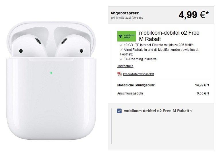 mobilcom-debitel o2 Free M Allnet-Flat mit 10GB LTE Apple AirPods 2
