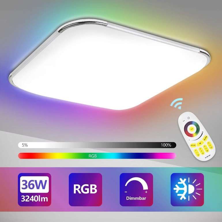 verschiedene Hengda LED Deckenleuchten mit RGB Farbwechsel z.B. 36 Watt für 30,79€ inkl. Versand
