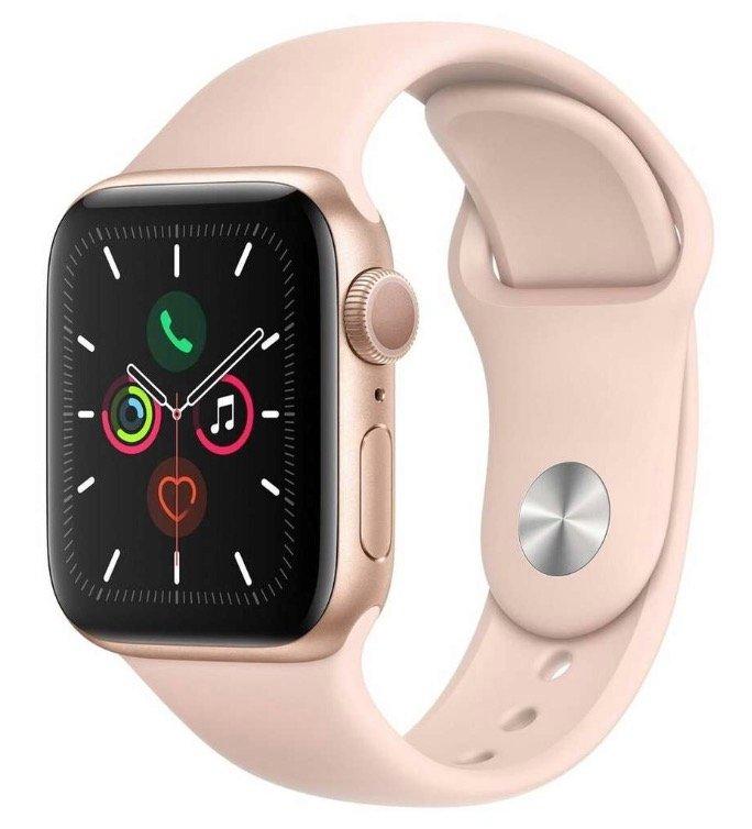 Apple Watch Series 5 GPS 40mm Aluminiumgehäuse + Sportarmband Sandrosa für 405,83€