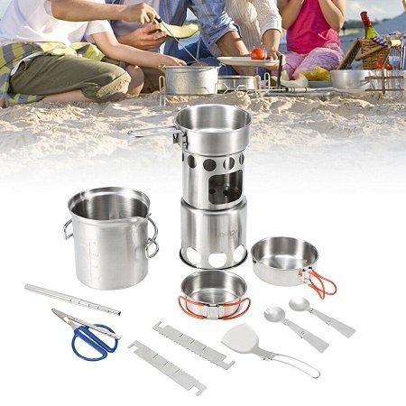 10-teiliges Camping Kochgeschirr N0Y5 für 23,49€ inkl. VSK