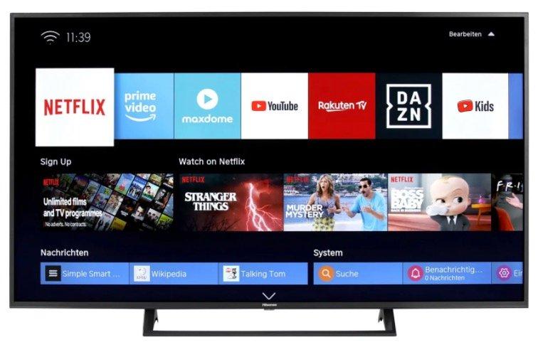 Hisense H55BE7200 - 55 Zoll UHD LED-Smart TV mit Triple Tuner für 326€ inkl. Versand (statt 383€)