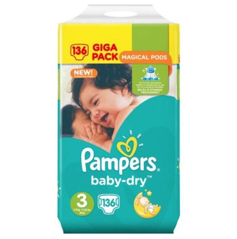 136er Pack Pampers Baby Dry Größe 3 (5-9kg) für 21,90€ inkl. Versand (statt 28€)