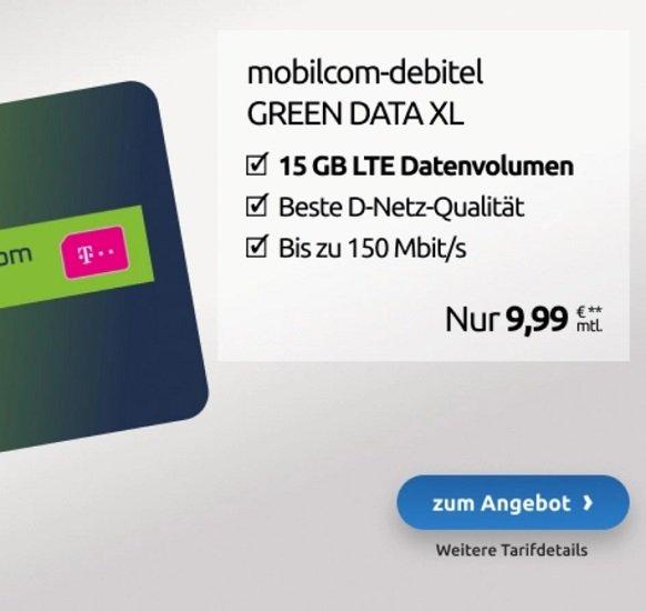 Mobilcom Debitel Telekom green Data XL (15GB LTE, 150 Mbit/s) für 9,99€ monatlich + 10€ Amazon Gutschein