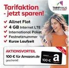 o2 Tarif (6 Mon. Laufzeit, 4GB LTE, AllNet-Flat) + 100€ Amazon für 14,99€ mtl.