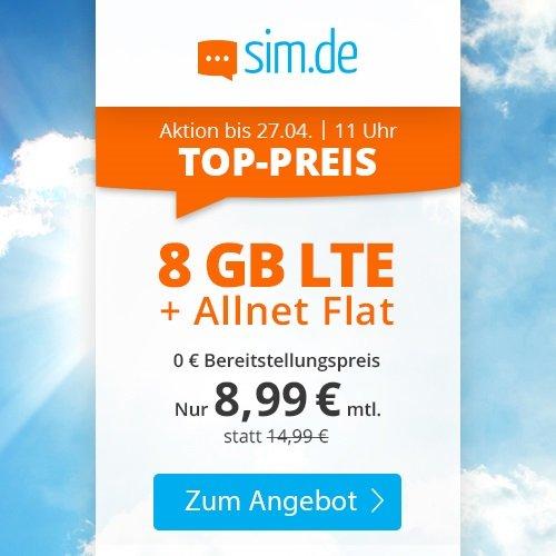 Sim.de o2 Allnet-Flat mit 6GB LTE Datenvolumen (bis zu 50 Mbit/s) für 8,99€ mtl. (ohne Vertragslaufzeit)