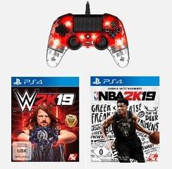 NACON LED PS4 Controller + 1 Game (NBA 2K19  / WWE 2K19) für 65€ (statt 97€)