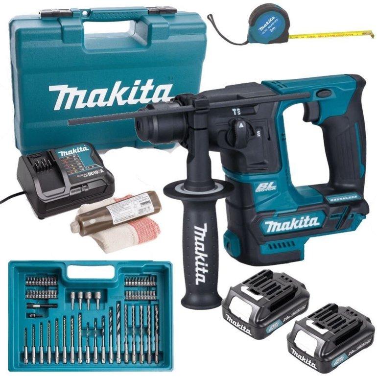 Makita 10.8V SDS+ Akku-Bohrhammer HR166DSAE1 + 2x 2,0Ah + Bits & Bohrer 110,40€