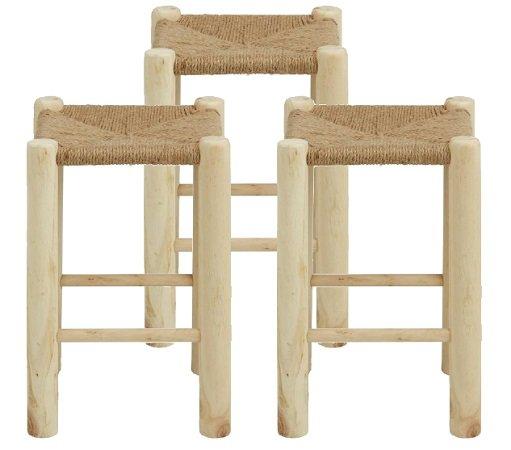 3 Hocker aus Echtholz mit Sitzfläche aus Sisalseil für nur 18,95€ inkl. VSK