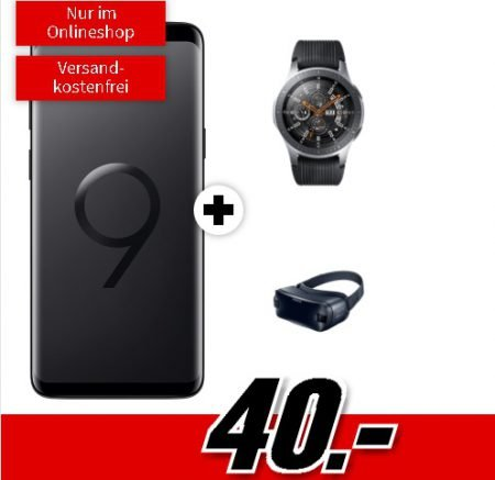 Samsung Galaxy S9+ & Galaxy Watch & Gear VR4 + O2 Free M 20GB LTE für 34,99€ mtl