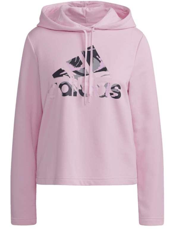 adidas Damen Kapuzenpullover Essentials Camouflage Logo in rosa für 29,97€ inkl. Versand (statt 50€)