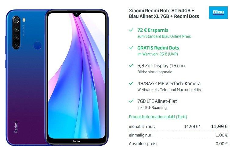 Xiaomi Redmi Note 8T + Earbuds o2 Allnet-Flat 7GB LTE