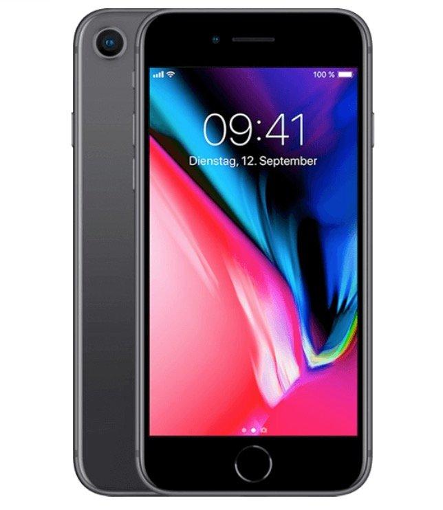 Apple iPhone 8 mit 64GB Speicher (1€) + Vodafone green Allnet-Flat mit 10GB LTE für 26,99€ mtl.