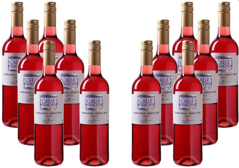 12 Flaschen Calle Principal Tempranillo-Merlot Rosé Wein für 53,80€ inkl. VSK (statt 65€)