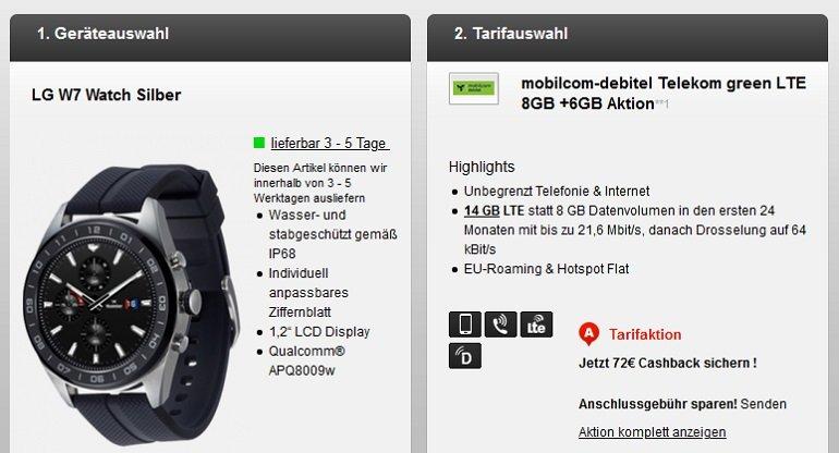 Telekom Allnet-Flat 14GB LTE LG W7 Smartwatch