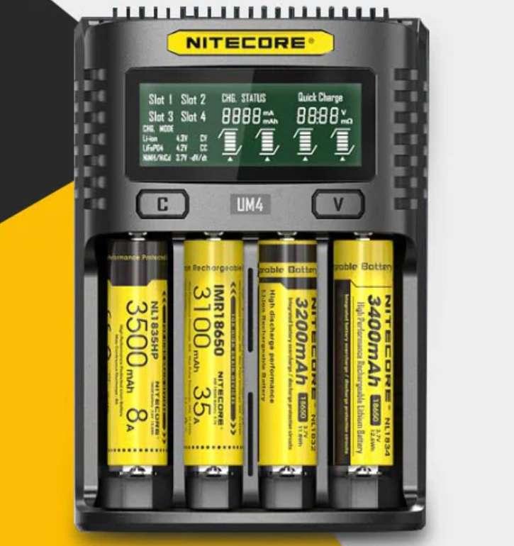 NiteCore UM4 intelligentes USB-Ladegerät für 18,22€ inkl. Versand